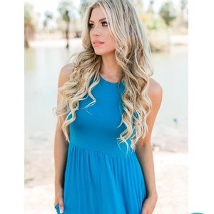 Bright Turquoise/Caribbean Ocean Blue Modest Maxi